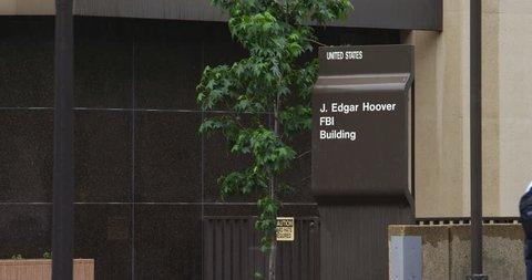 Sign in front of J. Edgar Hoover Building FBI Headquarters, Washington DC. Shot in 2012.