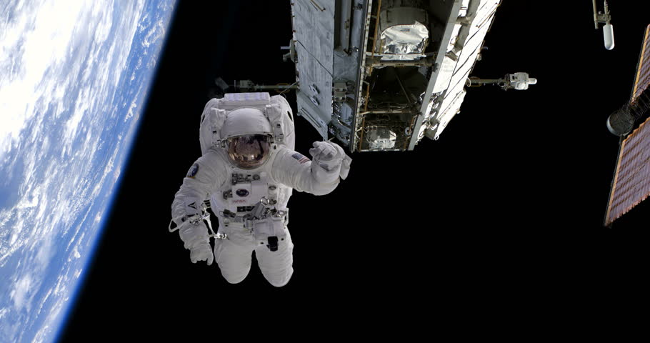 Astronaut Spacewalk Floating by Space Station and Above Earth, 4K some elements furnished by NASA images | Shutterstock HD Video #26934322