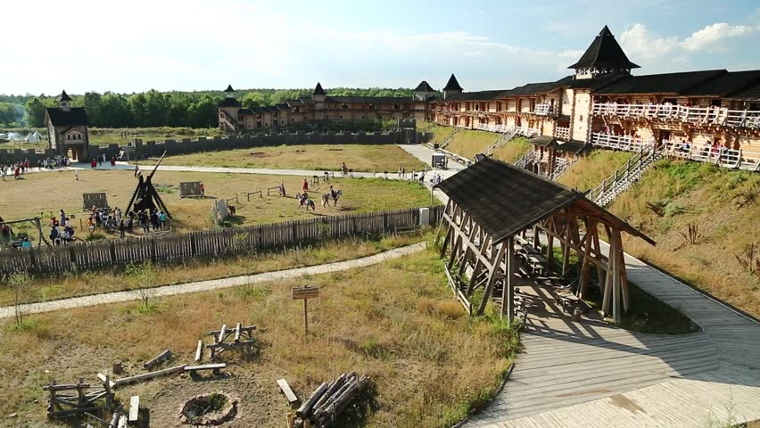 UKRAINE, KIEV REGION, KOPACHIV VILLAGE, AUGUST 14, 2016: Kyivan Rus park in Kopachiv village, historical reconstruction of ancient Kiev, view from wooden fortress #26938792
