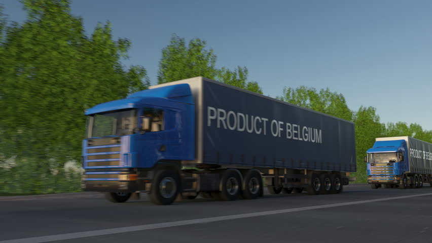 Moving freight semi trucks with PRODUCT OF BELGIUM caption on the trailer. Road cargo transportation. Seamless loop 4K clip | Shutterstock HD Video #26942413