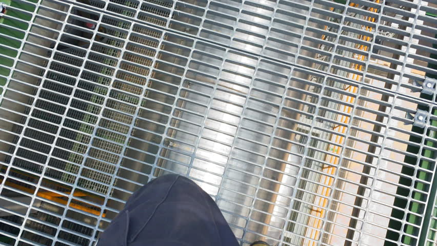Engineer Walking On Steel Plate Form In Process Area Of Chemical ...