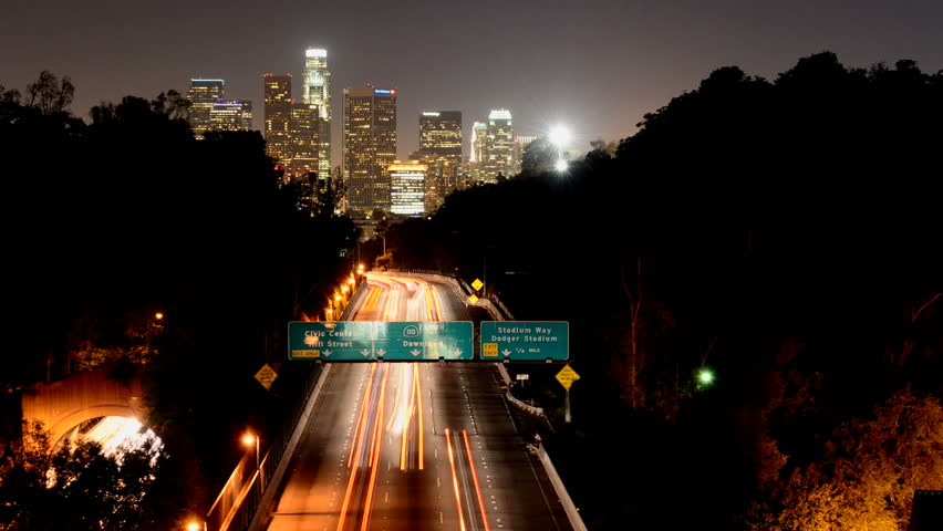 Time Lapse of Downtown Los Angeles at Night with Traffic