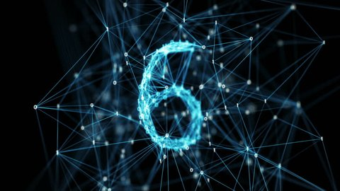 Abstract digital binary data nodes and connection paths form a countdown. The numbers are transformed one into another, creating stylish digital plexus motion graphics. Rotating camera Alpha Matte 4k