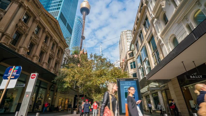 Sydney, Australia - May 12, 2017: 4k timelapse video of Pitt Street Mall in Sydney, Australia. It is one of busiest shopping precincts in Australia.