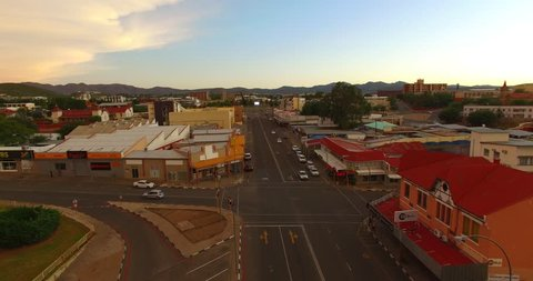Drone video view of capital Windhoek Independence Avenue afternoon traffic made on 13.01.16, city center, municipality building area, central highland Khomas Hochland of Namibia, southern Africa