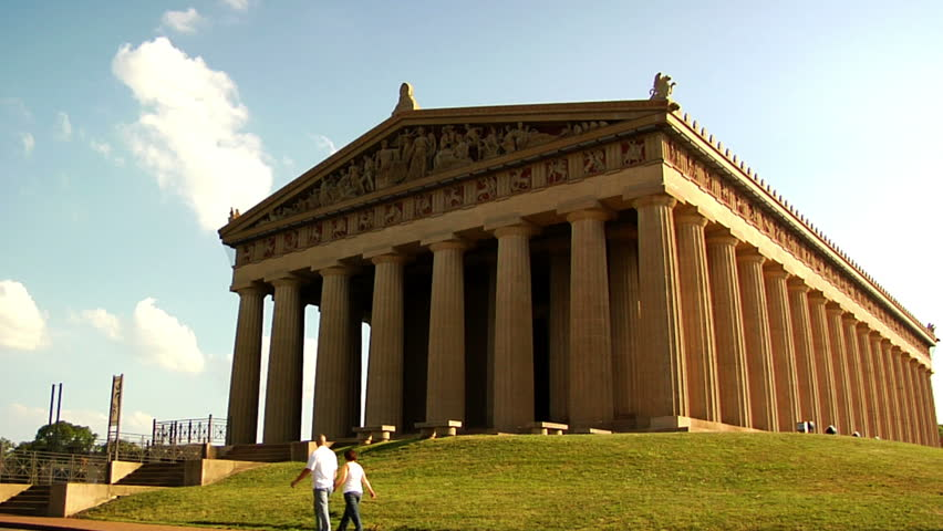 Tourists walk around the Parthenon located in Nashville, Tennessee. Why is it there? Good question. 1080 HD video