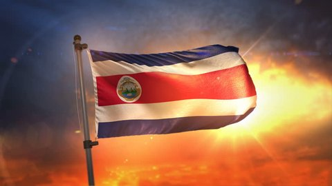 Costa Rica Flag Backlit At Beautiful Sunrise Loop Slow Motion 3D Rendering 4K
