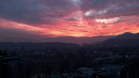 RED SKY IN SANTIAGO (CHILE) SUNSET