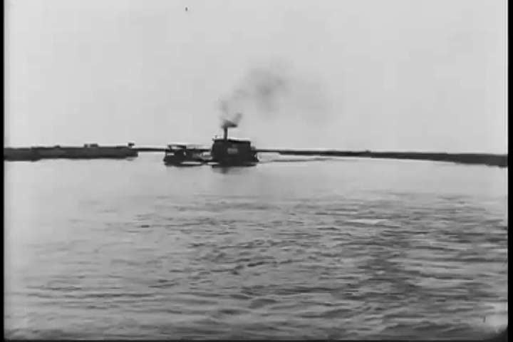 1910s: The Government steamer Dal travels along the upper Nile River with specimens for the Smithsonian Institute and with Theodore Roosevelt Jr., in Africa, in 1910. #27144442