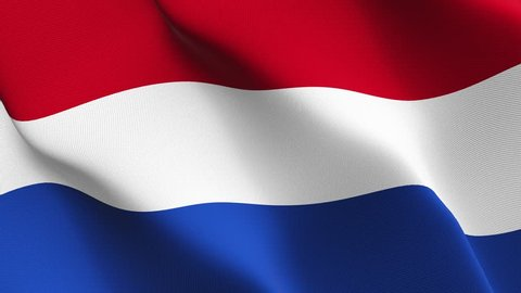 Netherlands flag waving seamless loop in 4K and 30fps. Dutch loopable flag with highly detailed fabric texture.