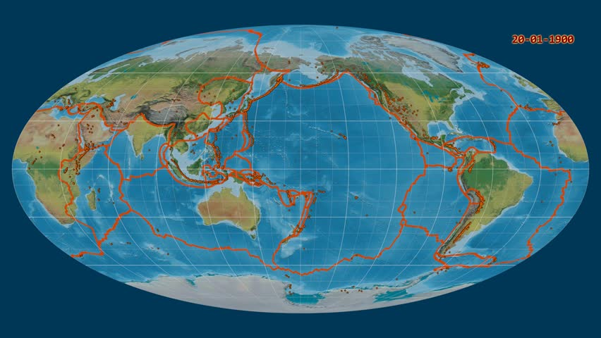 Major earthquakes (1900-2017) on the global topographic map in the Mollweide projection. Prime meridian static: 180 longitude degree. Tectonic plates borders and volcanoes