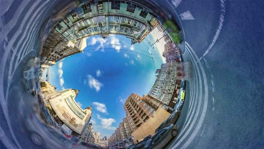 Spherical, Panorama Video 360 Degree Rabbit Hole Planet. Time Lapse. Transportation in Kiev. Downtown Area, Plaza. Traffic, Cars Are Driven by Road, Marking Close Up. Vacation in Famous Old City.