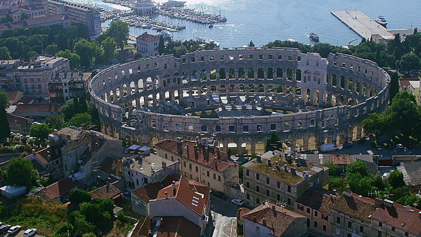 Arena in Pula with a movie theater setup, aerial video. Croatia.