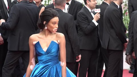 Winnie Harlow on the red carpet for the premiere of Loveless at the Cannes Film Festival, 5/18/2017