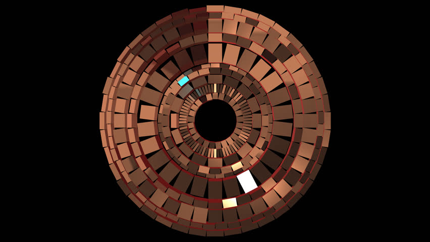 Looped animation on transparent background, set of spinning rings made of copper shiny blocks   Shutterstock HD Video #27178372