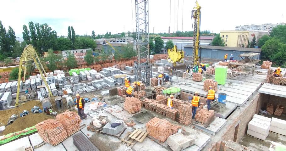 VINNITSA, UKRAINE - JUNE 2016: Aerial shot of the construction building site, new homes being built