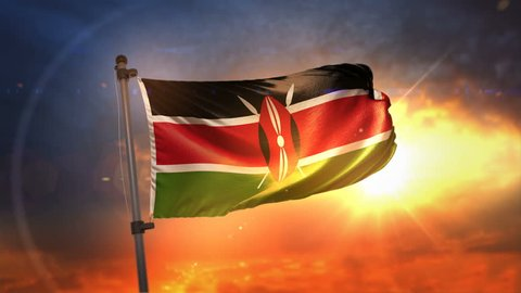 Kenya Flag Backlit At Beautiful Sunrise Loop Slow Motion 4K