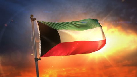 Kuwait Flag Backlit At Beautiful Sunrise Loop Slow Motion 4K
