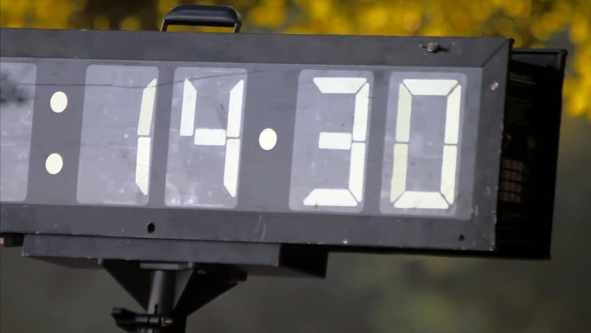 Outdoor Mechanical Analog Field Clock Time From 14:30 To 15:25
