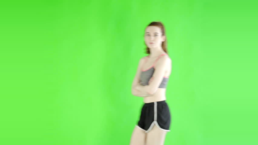 Caucasian woman studio greenscreen isolated sexy skinny 20s 4k sport fit slim   Shutterstock HD Video #27245482