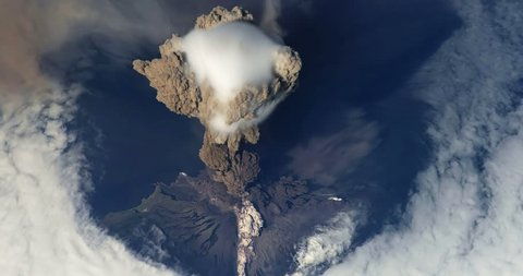 Erupting Sarychev Volcano on Matua Island View From Space Animation some elements furnished by NASA images