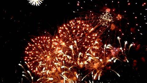 Fireworks display celebration, Colorful Firework 4K with sound audio