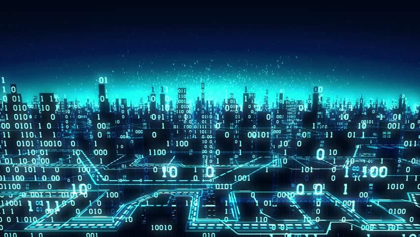 Aerial view of abstract futuristic binary city, a high-tech background with digital arrays connected to the global network, matrix, cloud, seamless loop, alpha matte | Shutterstock HD Video #27303502