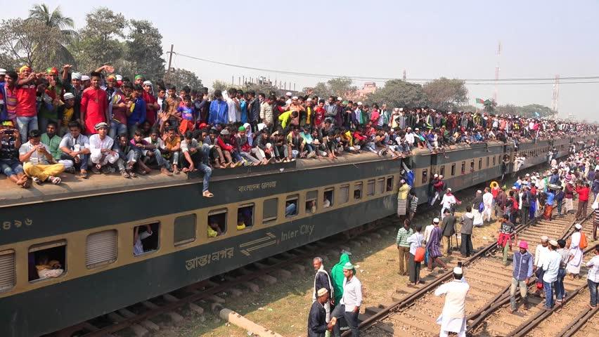 TONGI, DHAKA, BANGLADESH- JANUARY 13, 2017: Over crowded Jam packed Bangladeshi Bishwa Ijtema Train 2017 (Part 4 of 5)