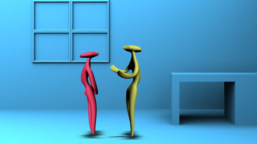 3d figures having a conversation