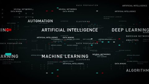 Keywords Artificial Intelligence Black - Important terms about artificial intelligence drift through cyberspace. All clips are available in multiple color options. All clips loop seamlessly.
