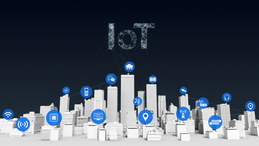 Things sensor icon on Smart city, connecting grid typo 'IOT' concept. white building.