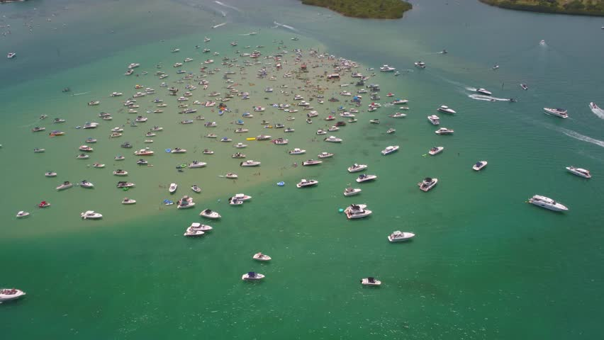 Memorial Day weekend at the sand bar Miami Beach aerial drone video #27386725