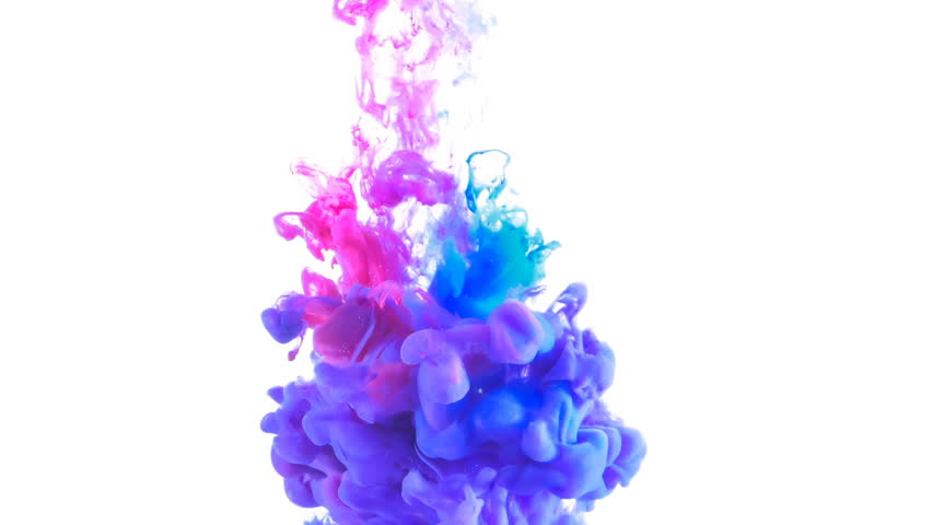 Red and blue paint forming thick, inky pink, blue and purple clouds in clear water against a white background | Shutterstock HD Video #27454222