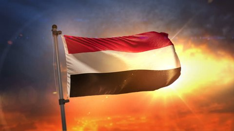 Yemen Flag Backlit At Beautiful Sunrise Loop Slow Motion 3D Rendering 4K