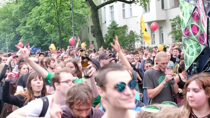 Berlin, Germany - june 04, 2017:  Young people dancing behind music truck on Karneval der Kulturen ( Carnival of  Cultures) in Berlin, Germany