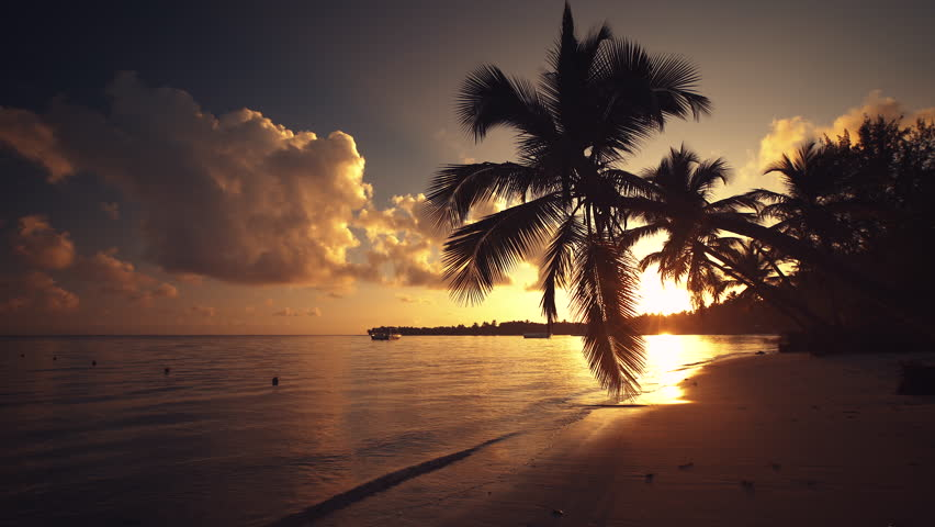 Tropical Island Beach Sunset: Nice Sunset On Tropical Island Stock Footage Video 711148