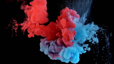 Real shot color paint drops in water in slow motion. Ink swirling underwater. Cloud of ink collision isolated on black background with alpha. Colorful abstract smoke explosion animation. Close up view
