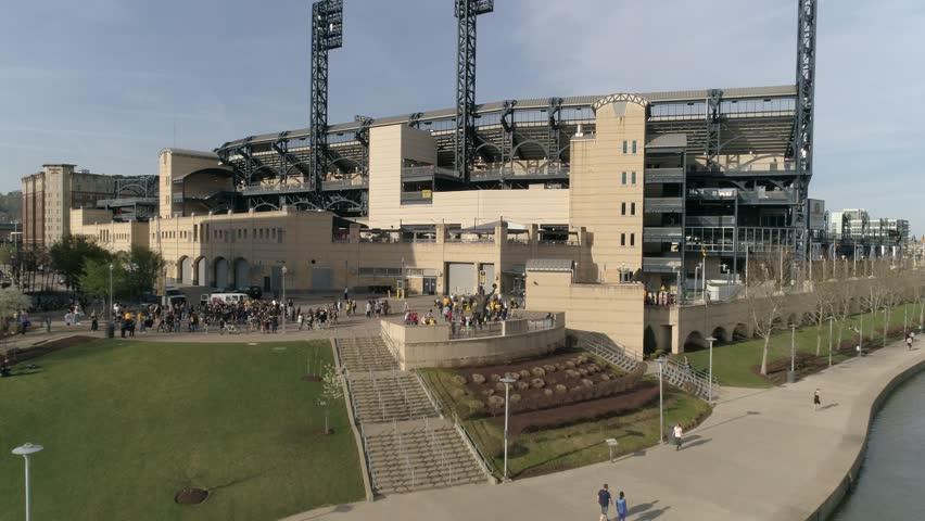 PNC Park Pittsburgh Pirates MLB Golden Hour Aerial Sunset Summer 4K