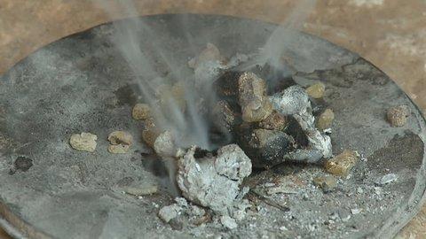 Burning boswellia tree resin – frankincense incense