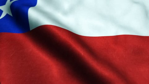 Flag of Chile waving in the wind with highly detailed fabric texture - Seamless loop