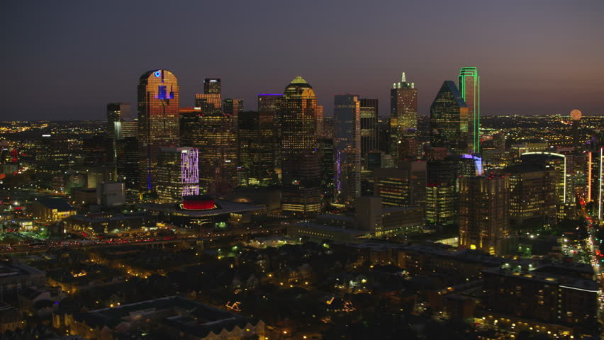 Dallas, Texas circa-2017, Aerial view of Dallas, Texas at dusk