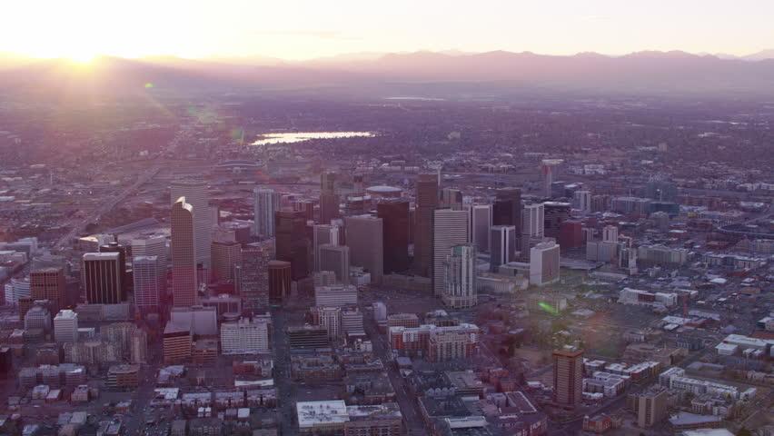 Denver, Colorado circa-2017, Aerial view of Denver at sunset