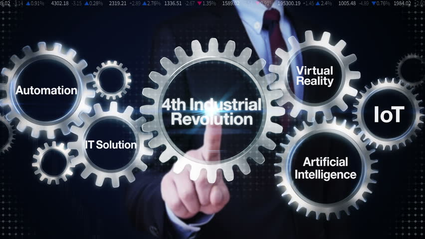 Businessman touch Gear with keyword,Automation, IT Solution,Virtual reality, Artificial Intelligence, Internet of things, '4th Industrial Revolution'