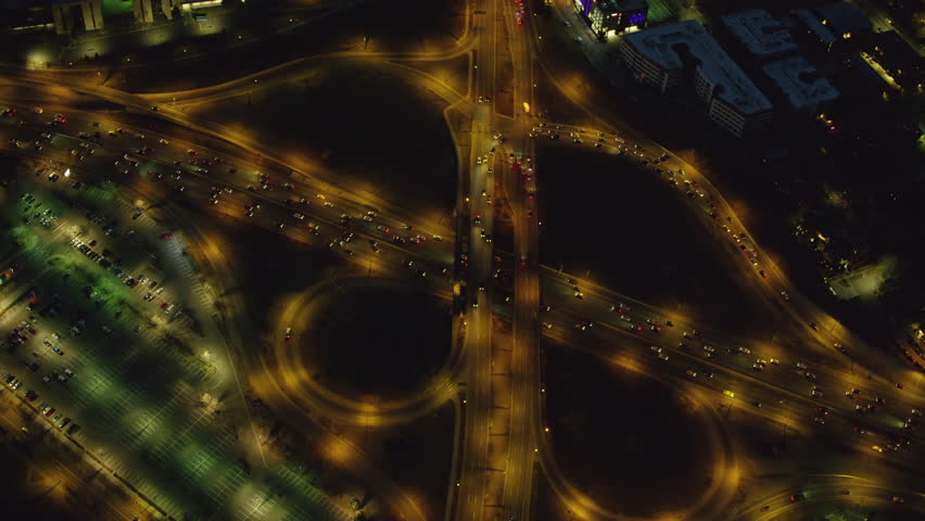 Denver, Colorado circa-2017, Aerial view of freeway interchange at night
