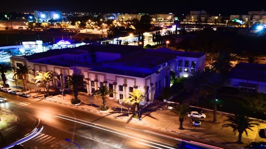 AGADIR, MOROCCO - CIRCA 2012: Time lapse of Agadir city centre at night circa