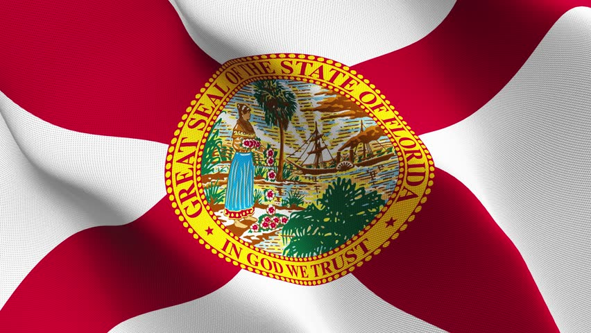 Waving Flag Of The Us State Of Florida With A Red Saltire