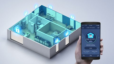 IoT smart home, Touching mobile Home appliance, Home security control system. Internet of Things