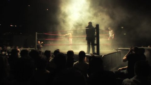 LONDON - APRIL 1: Pro Wrestler Enters Smoke Filled Atmospheric Ring during BritWres-Fest 2012 on April 1, 2012 in London, England.