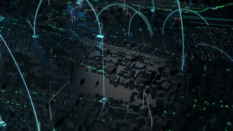 3d render of digital city. Abstract urban background. Skyscrapers and small towns with wireframe details and tech connection lines. Loopable sequence of panning camera move.