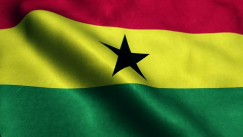 Flag of Ghana Beautiful 3d animation of Ghana flag in loop mode